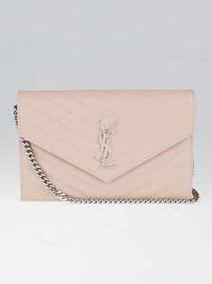 742b681a61b1 Yves Saint Laurent Pale Pink Chevron Quilted Grained Leather Metalasse  Wallet on Chain Bag - Yoogi's