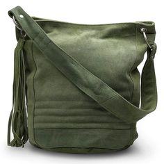<p>This beautiful soft suede sack bag in moss green is dyed with AZO free dye. Features funky blue patterned flower canvas lining and a long tassel. Has inside zip pocket, mobile pouch and key lanyard. Has matching coin purse.</p> <p>H front 27cm, side 30cm x dia 22cm, strap 59cm</p>
