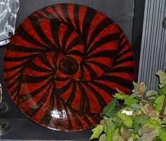 Large hand painted glass plate #232