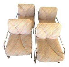 Vintage I 4 Mariani for Pace Italian Modern Chrome Upholstered Chairs - Set of 4 on Chairish.com