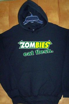 ZOMBIES-EAT-FLESH-Black-Hoodie-Sz-Sm-5XL-Prepare-For-The-Apocolypse