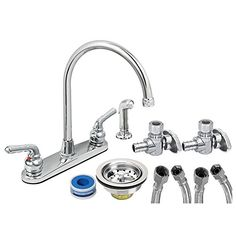 Everflow Supplies KFKT17188-20P Complete Installation Kit Lead Free Two-Handle Kitchen Faucet, Chrome