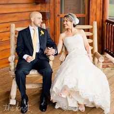 Bride and groom photo on the porch