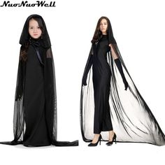 Halloween Girl's Witch Costumes Female Ghost Cloak Evil Witch Damon Role-playing Stage Performance Long Black Dress with Cloak Evil Witch, Witch Costumes, Damon, Cloak, Costume Accessories, Long Black, Stage, Raincoat, Female