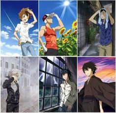 Katekyo Hitman Reborn (KHR) ~ Tsunayoshi Sawada (Sky), Sasagawa Ryohei (Sun), Yamamoto Takeshi (Rain), Gokudera Hayato (Storm), Lambo (Lightening), and Hibari Kyouya (Cloud)