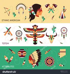Native american tribes traditional protective ethnic totems and attributes historical concept horizontal banners set abstract vector illustration