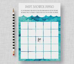 Whale Baby Shower Bingo  Watercolor Whale Bingo by kandsdotco