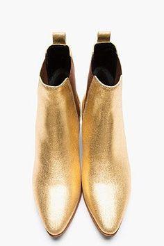 Saint Laurent gold booties. Hello fall!