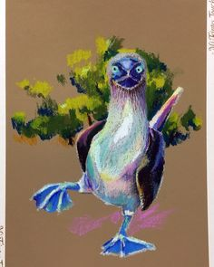 Blue-footed  Booby. Oil Pastel(CARAN d'ACHE NEOPASTEL) on CANSON Mi-Teintes Touch. 32cm x 24cm