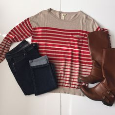 """Needle & Thread Striped Sweater Adorable sweater from Nordstrom. Great condition! 55% cotton 45% rayon. Has ribbing at the hem and wrists. Has a little pocket. 21 1/2"""" wide and 26"""" long. NO TRADES. Needle & Thread Sweaters Crew & Scoop Necks"""