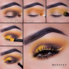 "(@motivescosmetics) on Instagram: ""Brighten up your eye look this spring with a pop of yellow. See how @elymarino gets this sexy…"" #EyeMakeupKorean Eye Makeup Steps, Eye Makeup Art, Eyebrow Makeup, Eyeshadow Makeup, Yellow Eyeshadow, Makeup Brushes, Makeup Goals, Makeup Inspo, Makeup Tips"