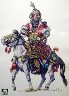 Golden Horde War Elephant, Golden Horde, Warrior Costume, Traditional Archery, Historical Art, Medieval Fantasy, Mongolia, Ancient History, Painting