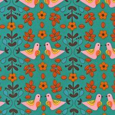 Little Kukla Collection - Love Birds in Retro - Suzy Ultman - Robert Kaufman - Half Yard. $4.75, via Etsy.