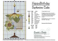 September Birthday Cake Cross Stitch Pattern | Brooke's Books Publishing