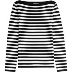 Michael Kors Collection Striped Wool Pullover ($325) ❤ liked on Polyvore featuring tops, sweaters, shirts, stripes, black striped shirt, black striped sweater, michael kors sweaters, slim shirt and wool sweater