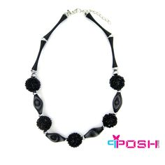 POSH Vera - Necklace - Stylish chunky necklace with metal beads - Black colour - Dimension: 45cm + 5cm extending chain  POSH by FERI - Passion for Fashion - Luxury fashion jewelry for the designer in you.