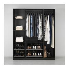 Ikea black PAX wardrobe, 175 x 58 x 201cm; for walk-in closet in plum & black bedroom