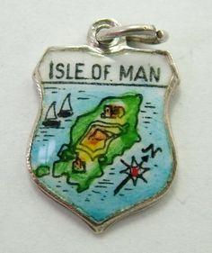 A silver & enamel travel shield charm for the Isle of Man. Isle Of Man, Silver Enamel, Welsh, 1960s, Charms, Christmas Ornaments, Travel, Vintage, Souvenir