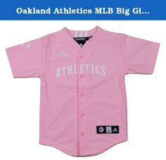 Oakland Athletics MLB Big Girls Screen Printed Jersey, Pink. Support your team with style with this Adidas Oakland Athletics MLB Big Girls Screen Printed Jersey made of 100% polyester Air Mesh. The jersey will have you looking and feeling just like a real ballplayer, with a button down front, screen printed team name on the chest, screen team logo on the right sleeve and Adidas 3 stripe on the rear collar. Big Girls sizing.