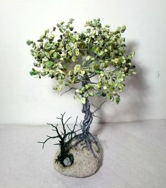 Wire tree sculpture / coil stone  / stone tree of art / original gift, abstract gemstone tree