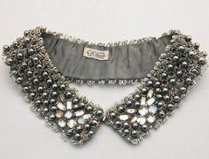rhinestone and pearl collar