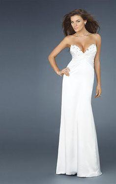 Prom Dress White sweetheart neckline strapless