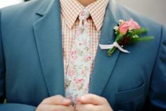 go whimsy with a grey suit, a tan plaid shirt, a floral tie and a matching floral boutonniere - Weddingomania Wedding Groom, Wedding Men, Wedding Attire, Wedding Blog, Wedding Styles, Our Wedding, Wedding Ideas, Wedding Girl, Casual Wedding