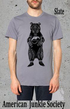 Men's Bear Grizzlies T Shirt__Boyfriend Gift(Native American-Apparel Clothing-Animal)Instagram Like,Grizzly Bear T-shirt~Mens Graphic TShirt by AmericanJunkieSoc on Etsy