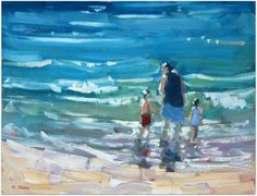 Playing in the Waves (oil) by Malcolm Dewey