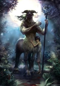 Protection of the Centaur • Marine Boy, fantasy art, warrior, Centaur, part man, male, horse, hest, kid, child, protecting, weapon, stick, mythical, forrest, trees, wood, spirit, beautiful.