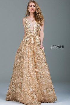 Gold Embellished Plunging Neckline Evening Gown 51165