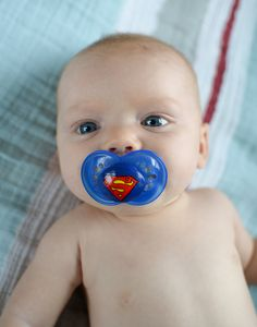 Super Baby on a BLUE MAM size 6 month - Custom Hand Painted Pacifier from Piquant Designs on Storenvy