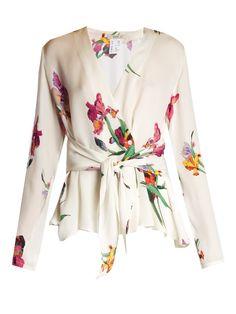 Etro Iris-print wrap silk blouse Compare Price