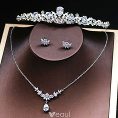Modest / Simple Silver Bridal Jewelry 2019 Metal Tiara Earrings Headpieces Rhinestone Accessories - New Ideas Silver Bridal Jewellery, Silver Tiara, Silver Ring, Silver Jewelry, Rhinestone Jewelry, Bridal Earrings, Silver Bracelets, Silver Earrings, Bridesmaid Jewelry Sets