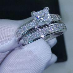 Wedding Rings Ideas, Princess Cut Diamond Tiny Square Diamond Bands Solitaire Wedding Ring Sets: The Fantastic Wedding Ring Sets for Your Wedding Day #diamondsolitairerings #princesscutring