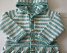Items similar to Knit hooded baby coat Baby coat Knit Jacket Merino hoodie Hand Knit hoodie Pea coat 0 - 6 month on Etsy