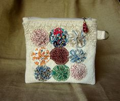 Handmade Zipper Pouch, Vintage Feed Sack Canvas Fabric, Vintage Yo Yo's, Vintage Lace, Lined, Beaded Zipper Pull by GreenLeavesBoutique on Etsy
