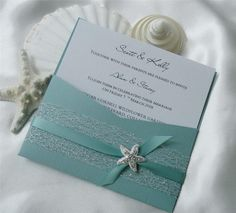 Beach wedding invites like the color and invite