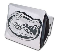 University of Florida Shiny Chrome Gators Mascot Logo Trailer Hitch Cover is for the University of Florida or Florida Gators sports fan and comes on a silver background with large, silver University of Florida Gators mascot logo.
