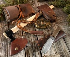 "Cold Steel 90N Norse Hawk with Custom Leather Sheath. Capturing the Viking spirit, the Norse Hawk's 4"" blade features a highly curved cutting edge and terminates in two sharp points. These points increase the chance of a stick when the Norse Hawk is thrown."