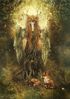 Forest Spirit by gingerkelly Digital mixed media illustration 2010