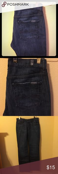 """7 For All Mankind high waist bootcut Great darkwash. High waist bootcut style. Waist across the front is 16"""". Inseam is 32"""" 7 For All Mankind Jeans Boot Cut"""