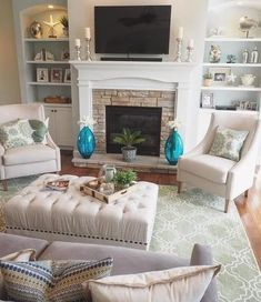 Awesome small living room designs are offered on our web pages. Have a look and you wont be sorry you did. Home Fireplace, Living Room With Fireplace, Fireplace Design, Farmhouse Fireplace, Rustic Farmhouse, Fireplace Ideas, Fireplace Seating, Fireplace Bookshelves, Furniture Around Fireplace