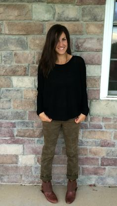 Oversized Black Sweater, Camo Jeans, Brown Booties outfit