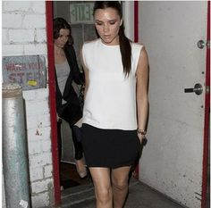 Free shipping new 2014 victoria beckham style women dress Black and white stitching dresses casual dress women Size S-XL