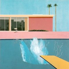 A Bigger Splash is a large pop art painting by British artist David Hockney. It depicts a swimming pool beside a modern house, disturbed by a large splash of water created by an unseen figure who has apparently just jumped in from a diving board. David Hockney Pool, David Hockney Art, David Hockney Paintings, Illustration Arte, Illustration Inspiration, Mam Sp, Gropius Bau, Fall Inspiration, Design Inspiration