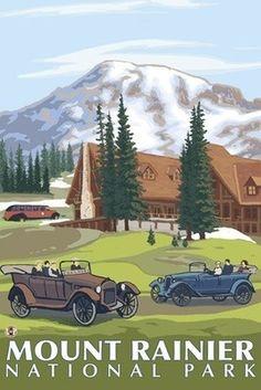 Mount Rainier - Paradise Lodge & Chalmers - Lantern Press Original Poster