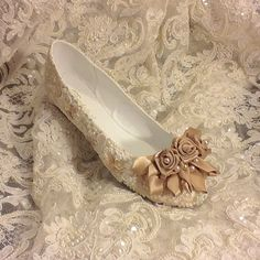 Custom Listing Wedding Shoes Bridal Flats Beaded Rhinestones Hand Embellished