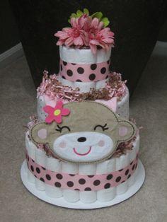 baby shower diaper cakes for girls | ... Monkey Girl Diaper Cake for Baby Shower Centerpiece and New Baby Gift