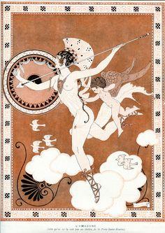 """George Barbier for La Vie Parisenne 2nd December 1916 - Heroine de Batille - caption """"L'amazone - (tell qu'on ne la voit pas au theatre de la Porte Saint-Martin)"""""""